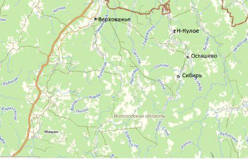 Карта части Вологодской области